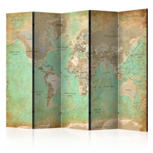 Paravento - Turquoise World Map [Room Dividers]