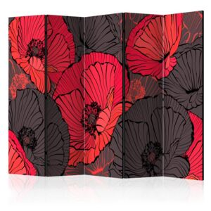 Paravento - Pleated poppies II [Room Dividers]
