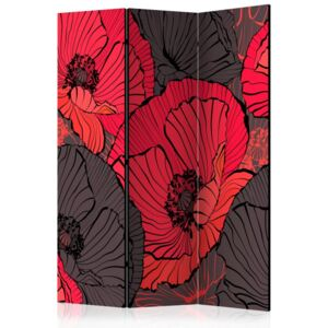 Paravento - Pleated poppies [Room Dividers]