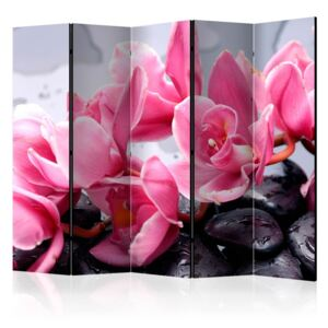 Paravento - Orchid flowers with zen stones II [Room Dividers]