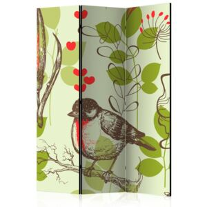 Paravento - Bird and lilies vintage pattern [Room Dividers]
