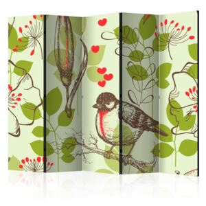 Paravento - Bird and lilies vintage pattern II [Room Dividers]