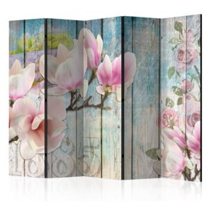 Paravento - Pink Flowers on Wood II [Room Dividers]