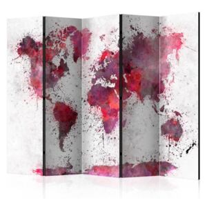 Paravento - World Map: Red Watercolors II [Room Dividers]