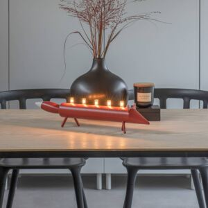Candelabro LED volpe, rosso, 5 luci