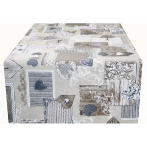 Runner Patchwork cuori taupe Made in Italy