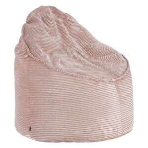 Kave Home - Pouf Wilma Ø 80 cm velluto a coste rosa