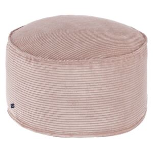 Kave Home - Pouf grande Wilma Ø 70 cm velluto a coste rosa