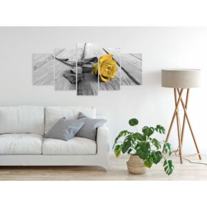 Quadro Rose on Wood (5 Parts) Wide Yellow