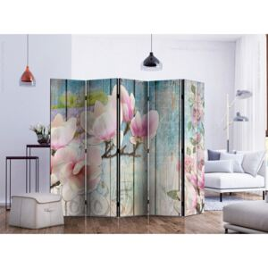 Paravento design Pink Flowers on Wood II [Room Dividers]